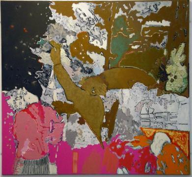 Culloden I (Before Prestonpans), distemper, oil, oil bar and charcoal on linen, 2003